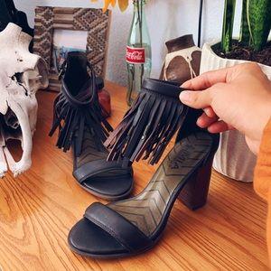 M.I.A. Leather Fringe Heels